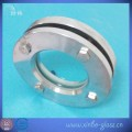 clear flanged stainless steel round glass plate